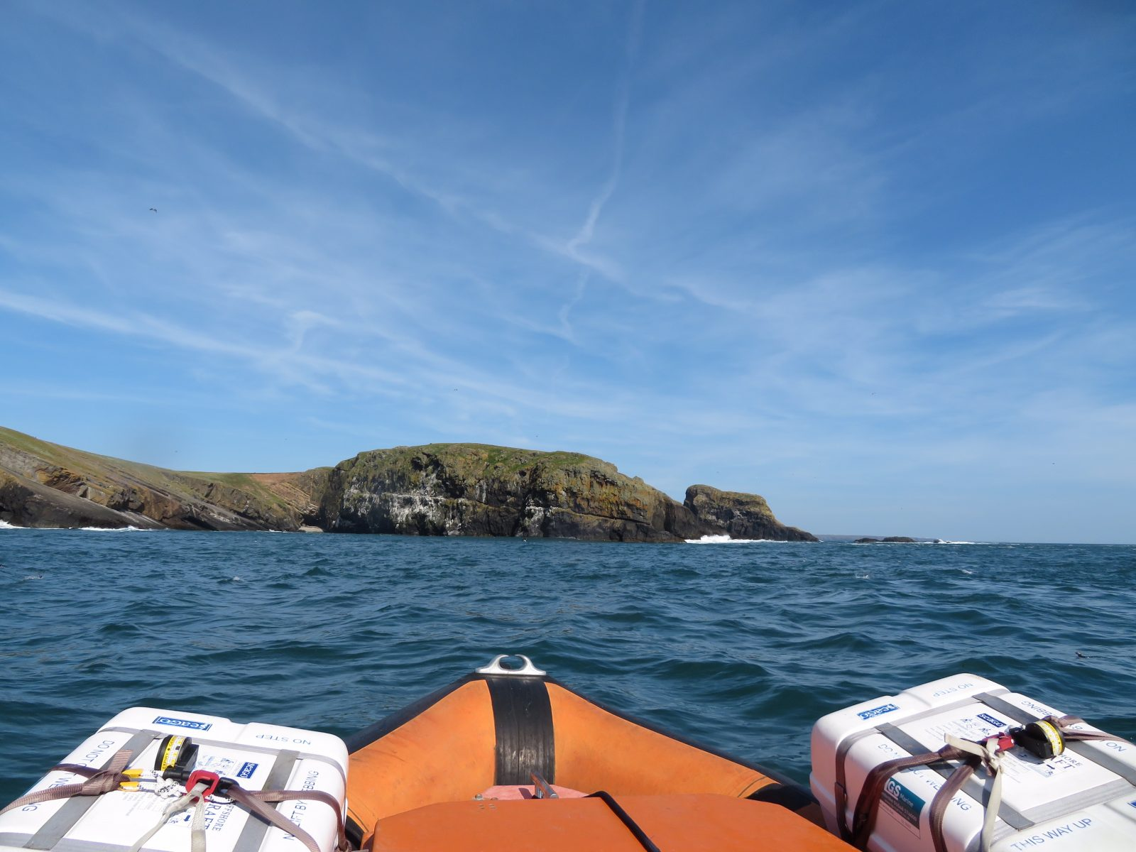 Skomer and Skokholm from the sea